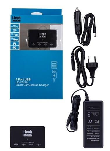 I-Tech Gear 4 Port Universal USB SmartPower Masaüstü ve Araç Şarj Cihazı Siyah